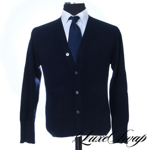 Brooks Brothers Black Fleece Made in Scotland 100% Cashmere Navy Cardigan BB2 NR