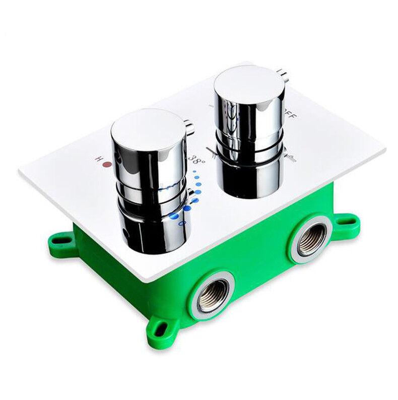 Douche thermostatique Robinet Vanne mélangeuse 3 voies dissimulée facile-mount box 2 Poignée