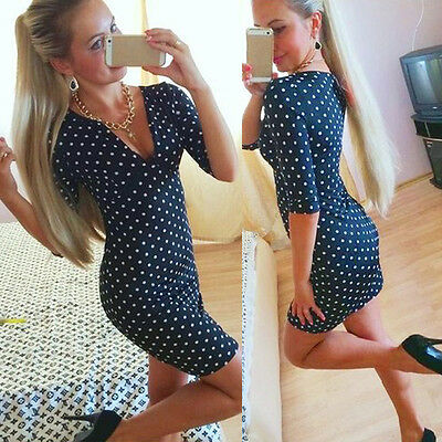 New Fashion Womens Polka Dot Casual Short Sleeve Mini Dress Party Dress OK