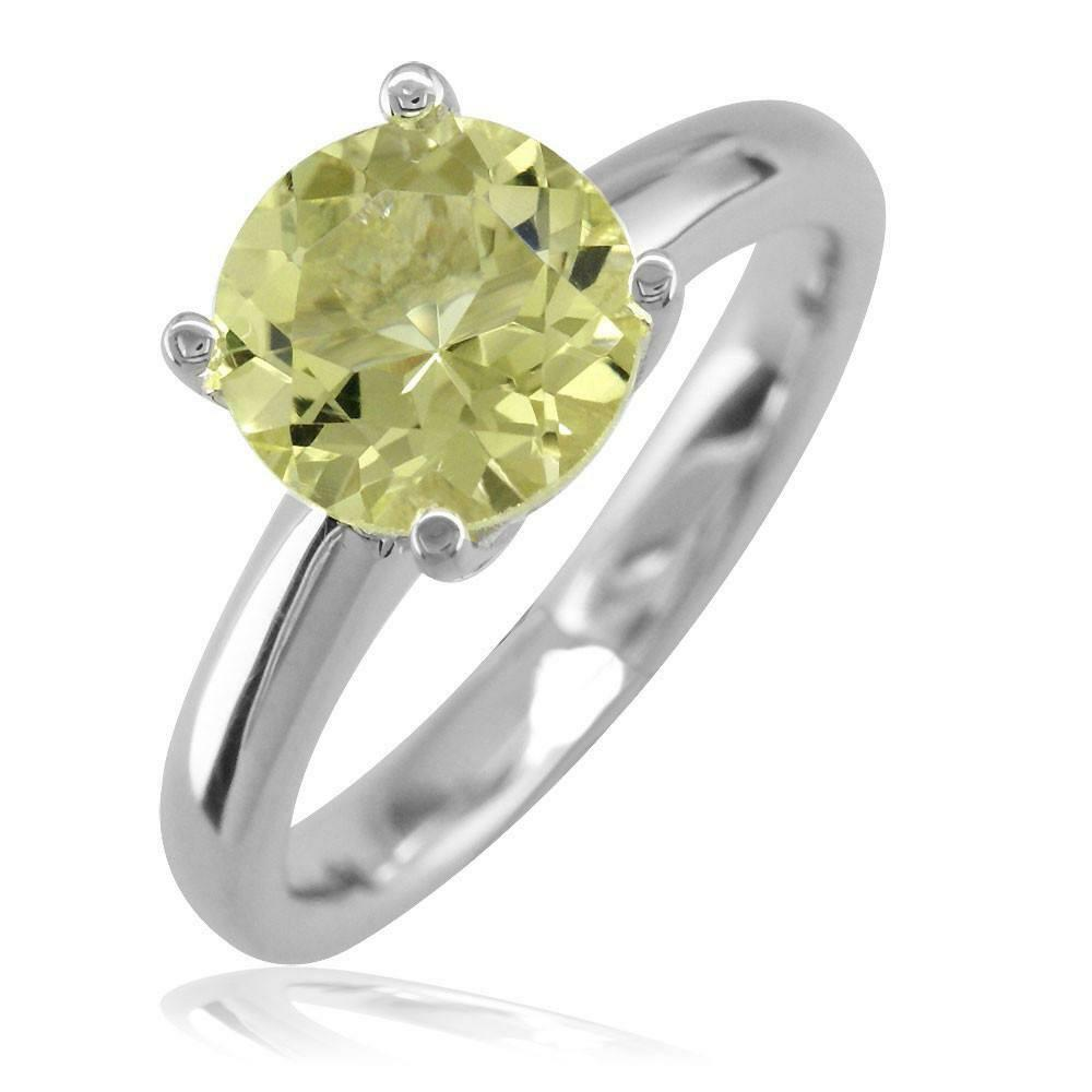 Round Lemon Quartz Ring in 14k White gold