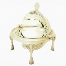 New Hand Crafted Silver Roll-Top Caviar Server - Footed Presentation Dish
