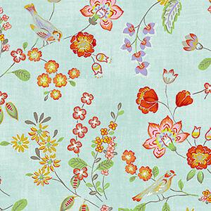 Cotton-Upholstery-Vintage-Oriental-Cottage-Garden-Blue