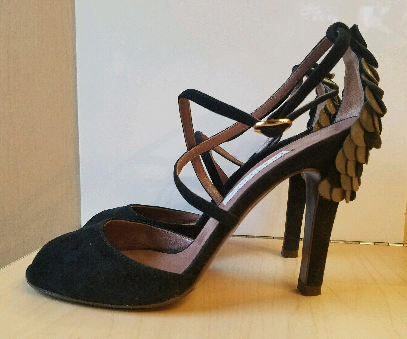 L'Autre Chose Black Suede Peep Toe Toe Peep Heels Shoes 36. In MINT CONDITION. f282c7