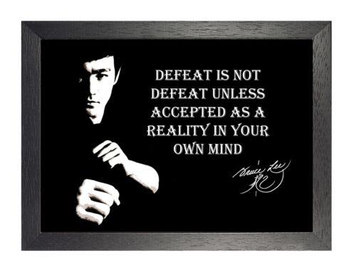 Bruce Lee Defeat Black White Motivation Inspiration Quote Poster Signature Photo