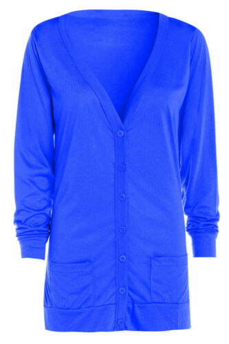 New Women/'s Ladies Long Sleeve Casual Boyfriend Pocket Button Cardigan Sm 4 XL