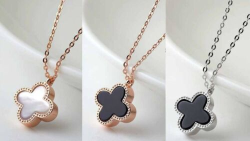 Silver//Rose Gold Flower 4-leaf Lucky Clover White Pearl//Black Pendant Necklace