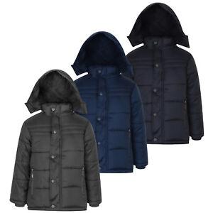 c1855a19bd65 Boys Winter Coat Fully Fleece Lined Removeable Hood School Snow Rain ...