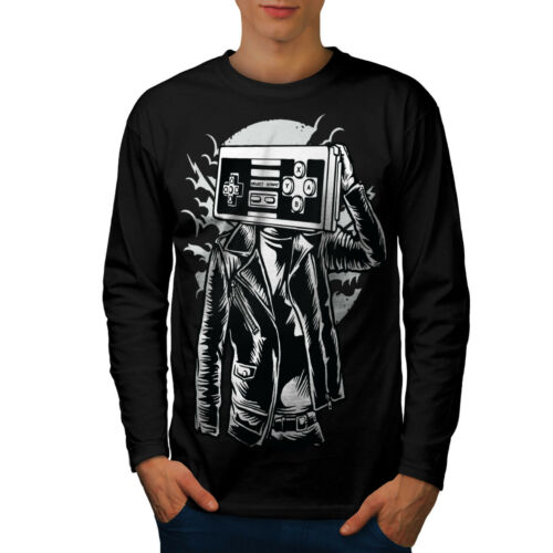 Wellcoda Gamer Fantasy Mens Long Sleeve T-shirt Geek Fashion Graphic Design