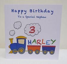 Handmade Personalised Boys 1st 2nd Birthday Card Nephew Son Grandson