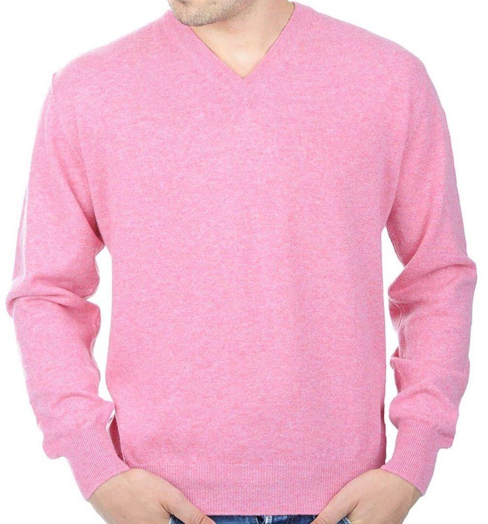 Balldiri 100% Cashmere Uomo Pullover collo a V rosa XS
