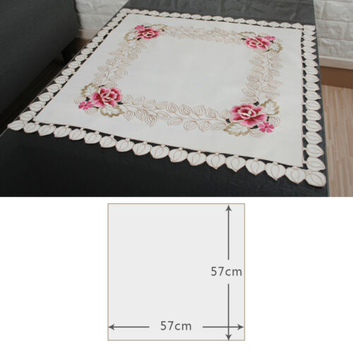 Vintage Flower Square Embroidered Tablecloth  Washable Small Table Cover Topper