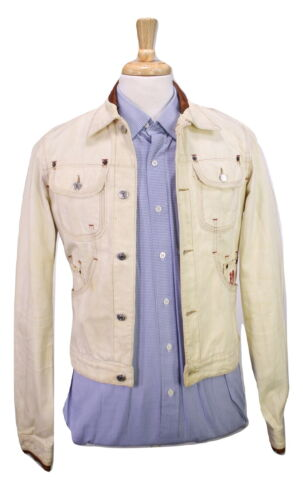 In Giacca s Jeans Finiture 36 Pelle Dsquared2 Marrone Sdrucito qtYUY86