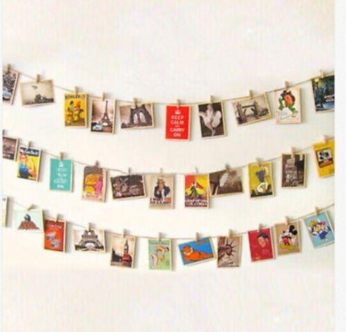 50 Stück Mini Klammer Postkarte Foto Klipp Holz Wäscheklammern DIY30MM
