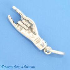 UT HOOK'EM HORNS or ITALIAN GOOD LUCK HAND SIGN 3D .925 Sterling Silver Charm