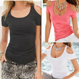 Damen-Kalte-Schulter-T-shirt-Bluse-Sommer-Freizeit-Hemd-Oberteil-Ubergroesse-36-48