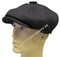 New Black Gatsby Cap Hat Flat 8 Panel Mens Ladies Country Baker Boy Newsboy Wool