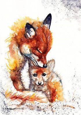 Sale,Original Watercolour Wildlife,Animal,Art, Print,Card Snoozing Fox Gift
