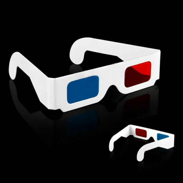 1x Universal Anaglyph Cardboard Paper Red Blue Cyan 3D Glasses For Movie Fast