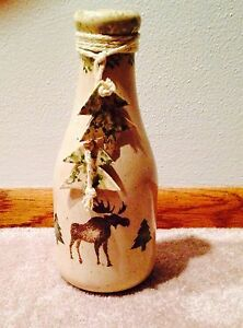 Moose Milk Jug 1 Qt Ceramic Rustic Cabin Lodge Pine Trees