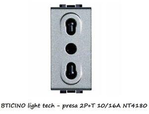 NT4180 BTICINO LIGHT TECH GRIGIO PRESA BIPASSO 10//16A
