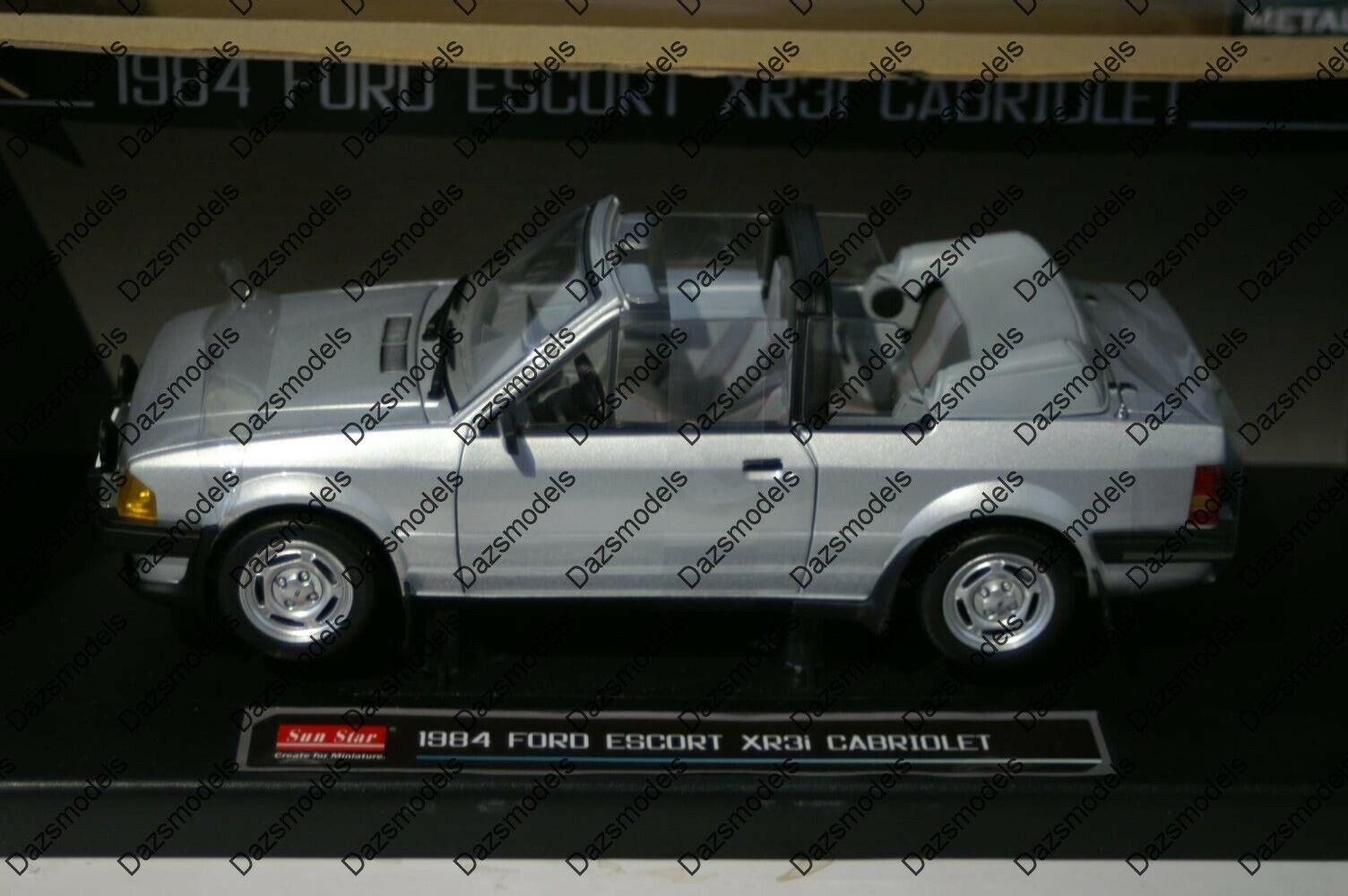 Sun star ford escort 1984 XR3i cabriolet argent 4993 Diecast 2 portes échelle 1 18