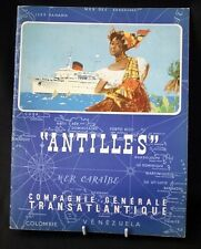"CGT FRENCH LINE SS ""ANTILLES"" French Text Brochure Booklet"