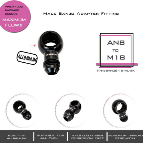 BOOSTEC M18 to AN8 8AN male Banjo Adapter Fitting 18MM Aluminum