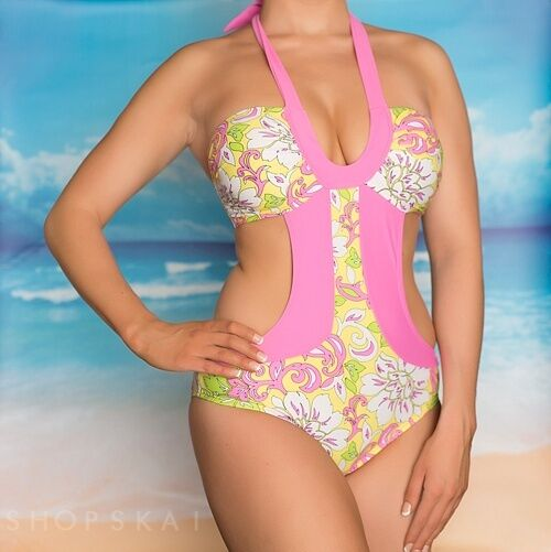 Marina West Swimwear Bikini Swimsuit Onepiece One Piece Pink Bathing Monokini XS