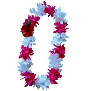 TWO Hawaiian Silk Flower Lei Luau Party Hula Wedding Necklace ~ HOT PINK & WHITE