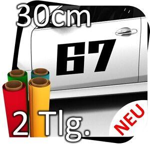 2x 30cm Nummer frei wählbar Startnummer Auto Autoaufkleber Rallynummer No.22