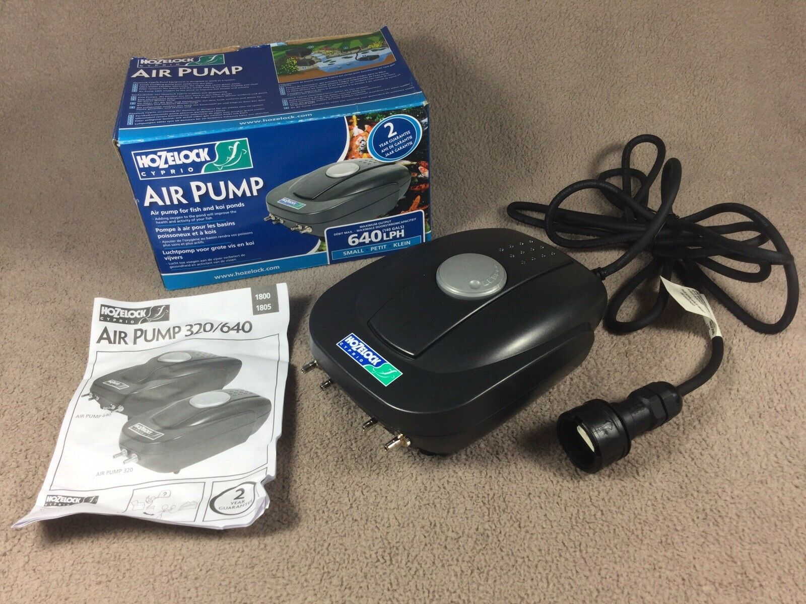 Hozelock 640 LPH Fish & Koi Pond Air Pump - Boxed With Instructions