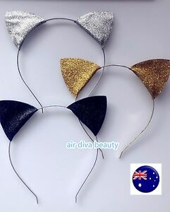 Women-Girl-Kitty-Cat-Ears-Gold-silver-Costume-Party-hair-head-Band-Headband-Prop