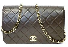 Auth CHANEL Lamb Skin Leather CC Brown Chain Tote Purse Handbag Shoulder Bag