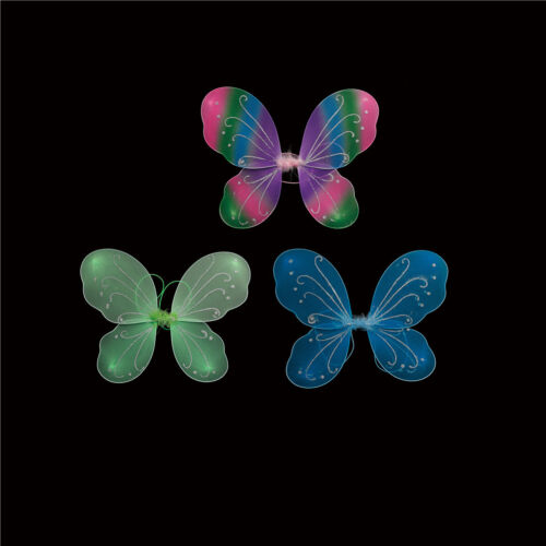 Halloween DIY Girls Fairy Colorful Butterfly Wings Show Props Fancy Kids RWKG