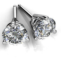4.00ct  Round Cut Diamond Earrings Stud Solid 14K White Gold VVS1/D color jewel