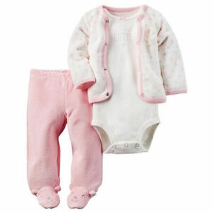 977a81b7054d Carters 3pc Set Cardigan Bodysuit Footed Pants Pink Baby Girl Size 3 ...