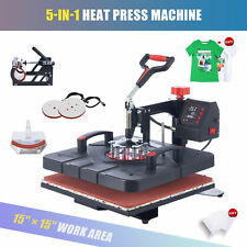 15x15 Heat Press Machine 5in1 T Shirt Transfer 1000w Press With Slide Out Base