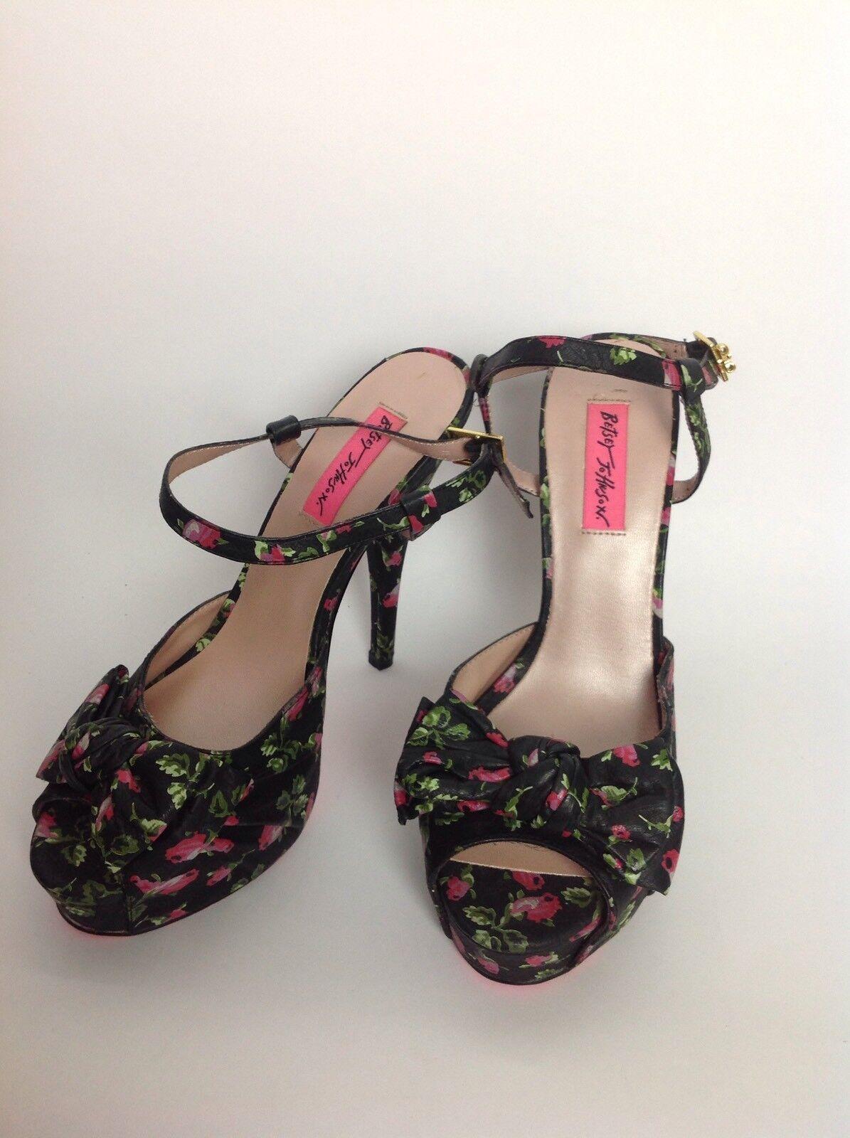 autorizzazione Betsey Johnson nero rosa Floral Floral Floral Strappy High Heels Sandals 8.5 Haylie-F scarpe  clienti prima reputazione prima