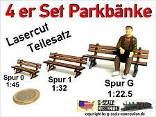 Kiss... Märklin Spur 1 Lasercut 4 Stück Parkbank Bahnhofsbank aus Holz für z.B