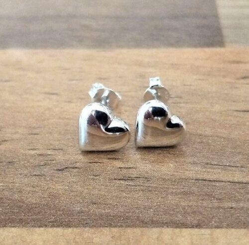 4 Sizes Silver Heart Shaped Stud Earrings Flat Back 925 Sterling Silver