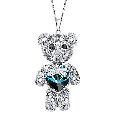 Animal Teddy Bear Blue Heart Pendant Necklace Crystal From Swarovski Crystal Hot