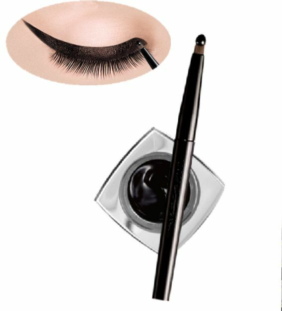 HOT NEW Waterproof Black Eye Liner Eyeliner Shadow Gel Makeup Cosmetic + Brush