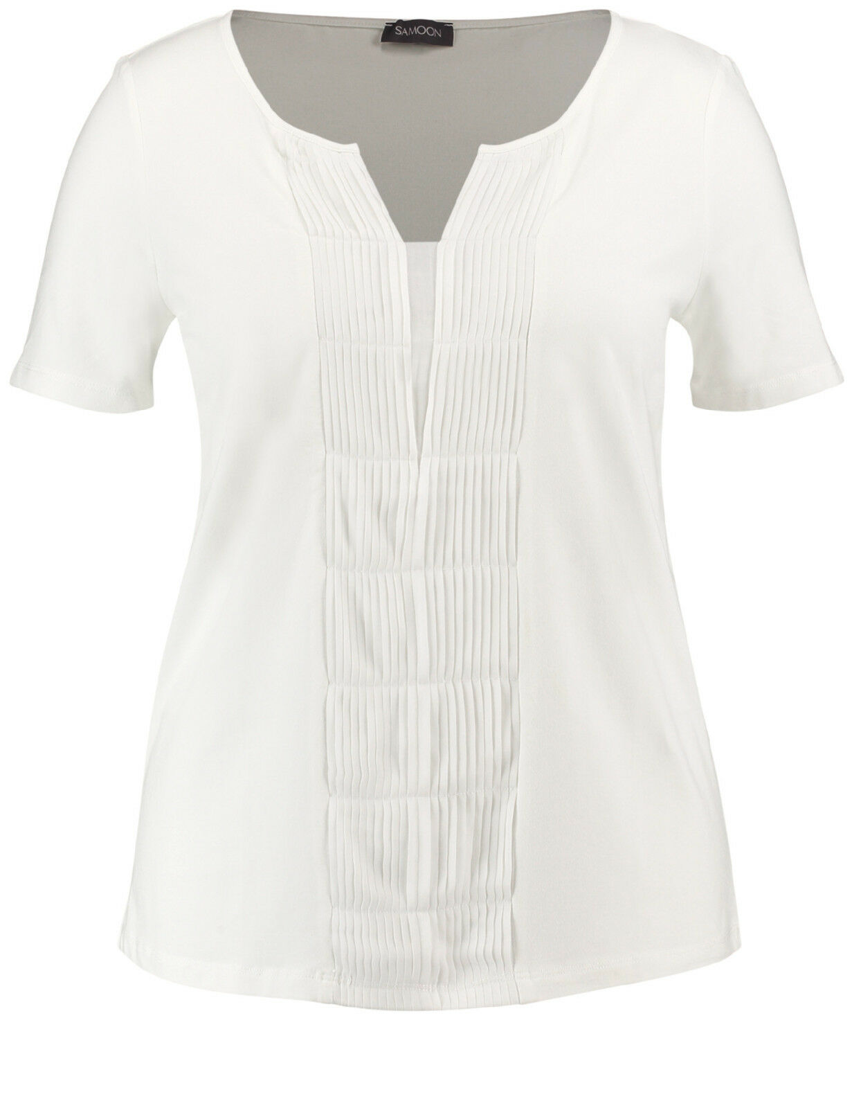 Samoon Shirt mit Biesen by Gerry Weber Stretchshirt Neu gedecktes Weiß Damen Gr.