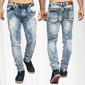 Uomo-denim-stretch-Jeans-slim-fit-Vintage-sbiancato-5-Pocket-Knitter-Style