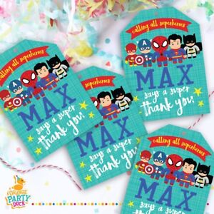 Details About 9 X Personalised Superhero Batman Spiderman Gift Tags Birthday Party Favor Thank