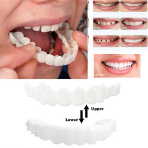 Details about 2pcs Cosmetic Dentistry Snap On Instant Perfect Smile Upper  Lower Teeth Veneers