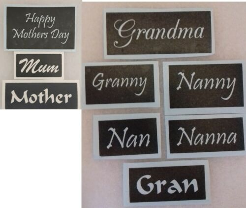 Mothering stencils mix for etching Mother mum grandma Mothers Day  Comic Relief