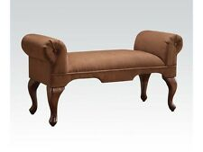 Acme Furniture 05626 Aston Microfiber Rolled Arm Bench Chocolate Finish New