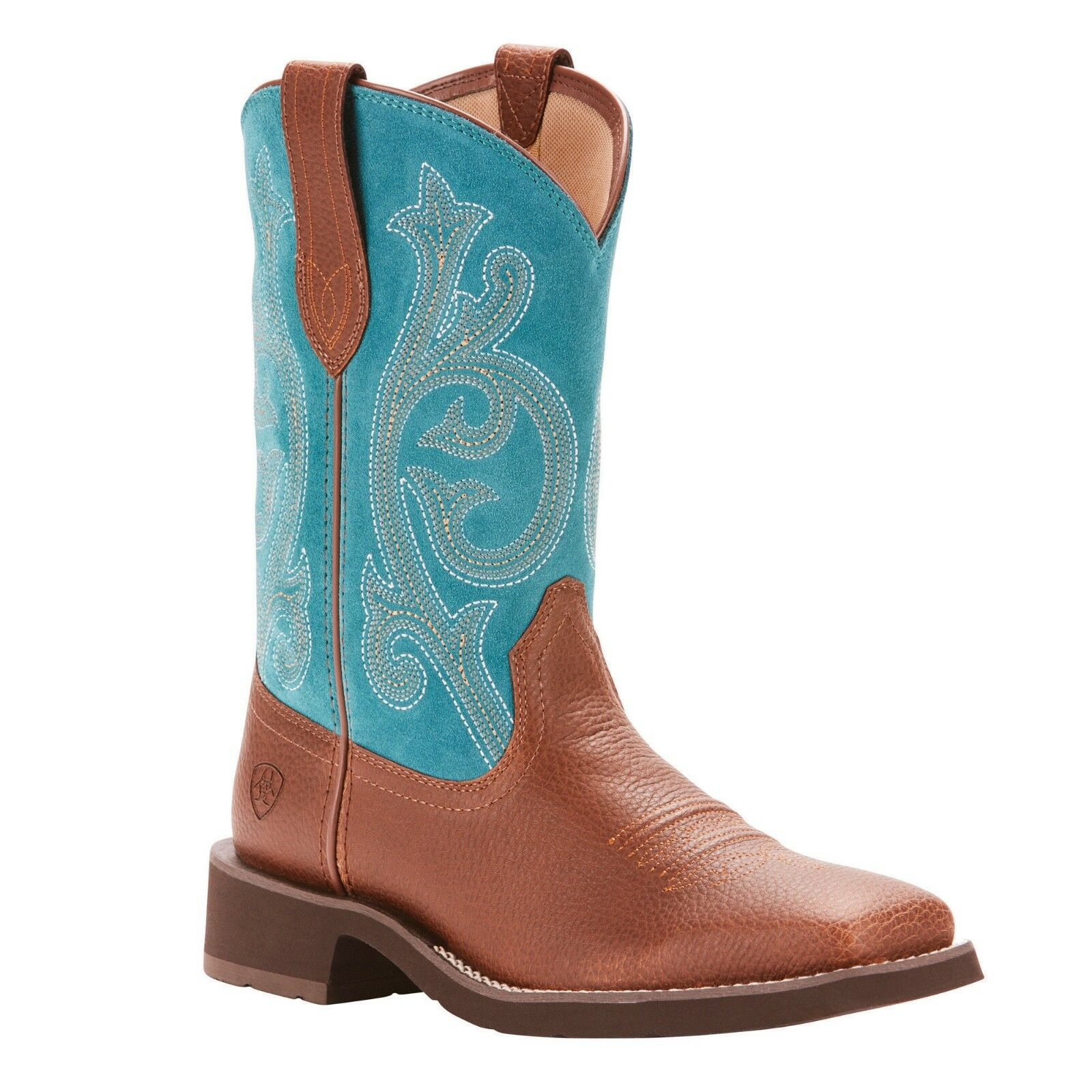 Ariat® Ladies Prim pink Pebbled Brown & Turquoise Boots 10025031