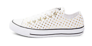 5ac45c29d67625 White Gold Polka Dot Converse All Star Low Top Sneakers NEW